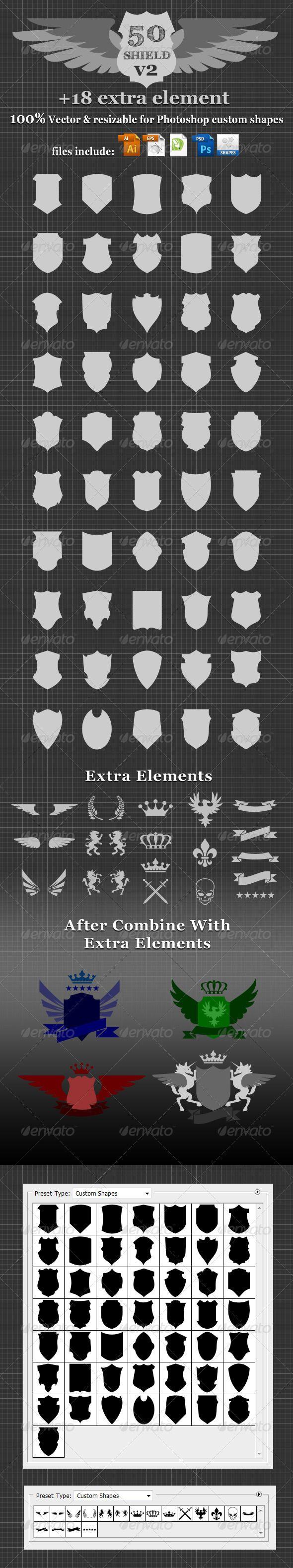 50 Shield v2 Custom Shapes