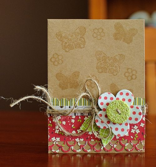 handmade card with Kraft paper