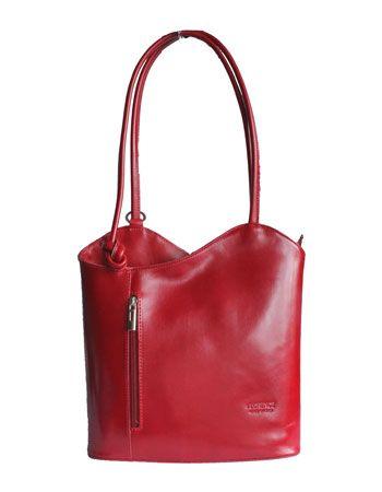 Multi-Way Red Leather Shoulder Bag/Backpack
