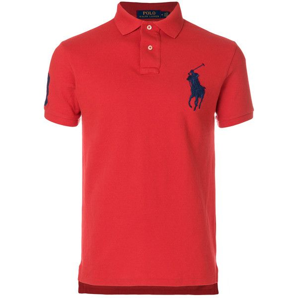 Polo Ralph Lauren embroidered Big Pony polo shirt ($155) ❤ liked on Polyvore featuring men's fashion, men's clothing, men's shirts, men's polos, red, polo ralph lauren mens shirts, mens polo shirts, men's cotton polo shirts, mens cotton shirts and mens long sleeve shirts