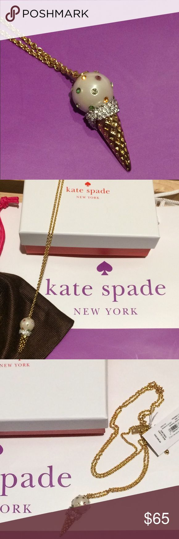 "Kate Spade Carnival Nights Pendant Necklace Kate Spade Carnival Nights Ice Cream Pendant Necklace. 12K gold plated, lobster clasp closure, 30"". Retails for $98. Dust bag and gift box included. kate spade Jewelry Necklaces"