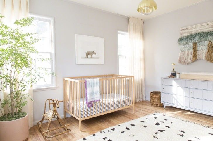Bedroom. 13 Graceful IKEA Baby Bedding Perfect For Your Baby Nursery. Natural And Traditional Nursery Room Design Style Introducing Natural Wooden Simple Crib With Stripy IKEA Baby Bedding Option Decorate Rattan Rock Horse Toy Side By Side With Indoor Planting Along With Vintage Sideboard Ideas