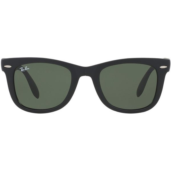 Ray-Ban Folding Wayfarer Black Matte Square Sunglasses - rb4105 ($150) ❤ liked on Polyvore featuring accessories, eyewear, sunglasses, glasses, ray ban sunnies, ray-ban wayfarer, ray ban glasses, square wayfarer sunglasses and ray ban eyewear