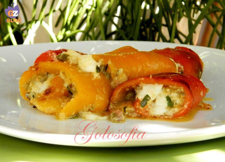 Involtini di peperoni ripieni al forno, un contorno buonissimo molto saporito! perfetto da accompagnare a carne alla griglia.