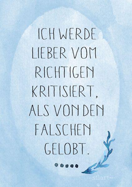 Kritik und Lob, Lettering Card, Quote Art, Word Art, Statements, Zitate, Sprüche, Karten