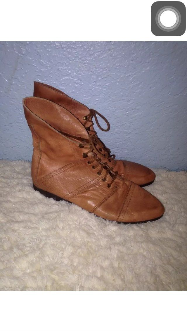 Women's vintage 1980's tan leather ankle boots! Size 9 by CerealVintageThrift on Etsy