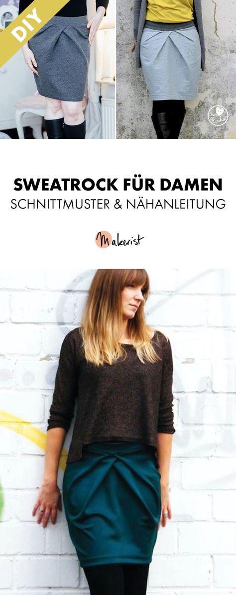 Sweatrock für Damen mit raffinierten Falten - Nähanleitung und Schnittmustern via Makerist.de