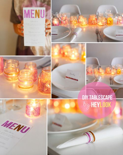 diy tablescapeBaby Food Jars, Tables Sets, Candles Holders, Dinner Parties, Baby Foods, Bridal Shower, Dinner Tables, Glitter Jars, Glitter Parties