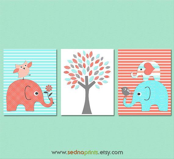 Aqua and coral elephant Nursery Art Print Set - 8x10 - turquoise, elephant, tree, owl, bird, stacked elephants, chevron  - UNFRAMED