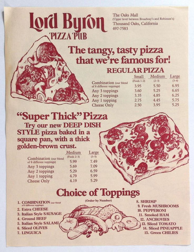 1980's Vintage Menu LORD BYRON PIZZA PUB Thousand Oaks CA Oaks Mall