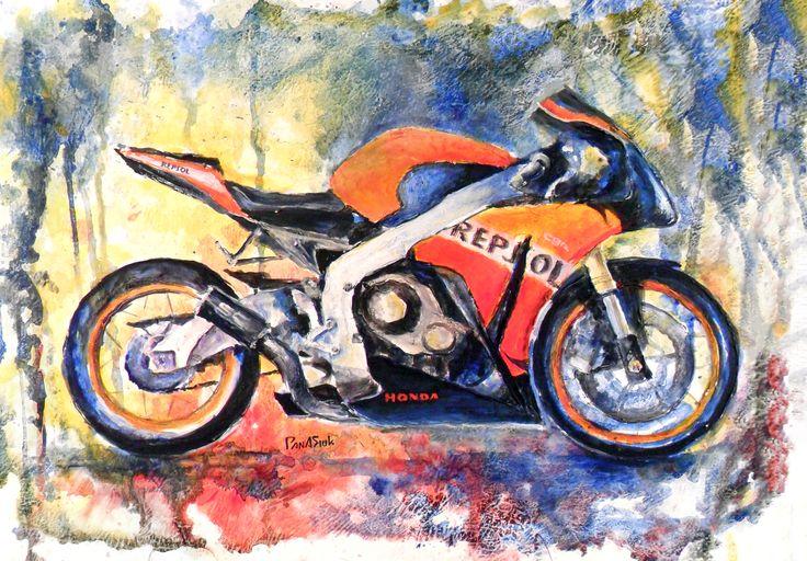 Acrylic-color, moto, #motoart, sportbike, #moto_painting, honda
