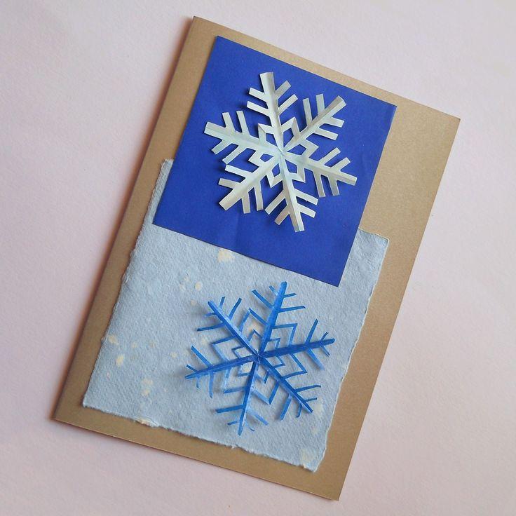 Sněhové vločky Přáníčko s vystřihovanými sněhovými vločkami. Zima tu bude co nevidět... Formát přáníčka: A5