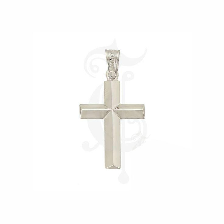 Σταυρός βάπτισης ΤΡΙΑΝΤΟΣ για αγόρι λευκόχρυσος Κ14 σε λεπτή γραμμή που κορυφώνεται στο κέντρο του | Κόσμημα ΤΣΑΛΔΑΡΗΣ στο Χαλάνδρι #τριάντος #βαπτιστικός #σταυρός #βάπτισης #αγόρι