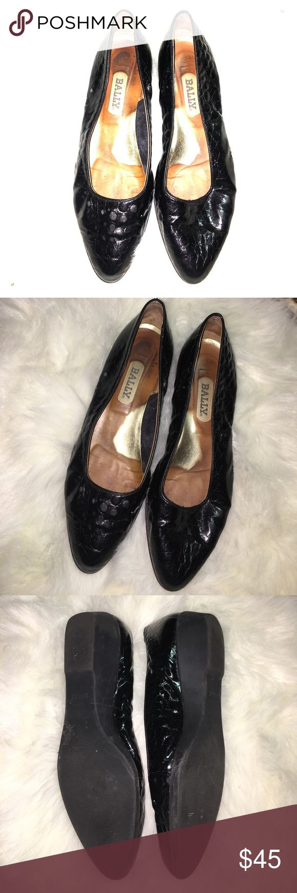 BALLY LOW WEDGE SHOE Black with rubber soles they have approximately a 1 inch wedge Bally Shoes Wedges