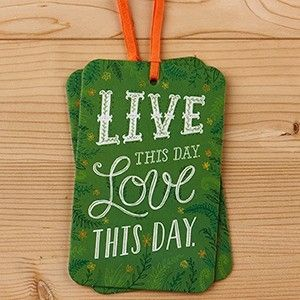 A sturdy hanging tag card with matching ribbon & envelope. Features the words: Live this day. Love this day. Beautiful typography and design printed on thick card use soy based inks. Blank on the reverse side.