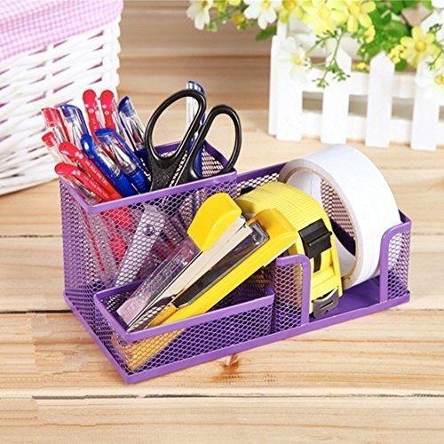 Mesh Desk Organizer Office Supplies Pen Holder 3 Part Purple | EBay