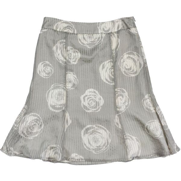 Pre-owned Armani Collezioni Grey & Cream Rose Print Silk Skirt ($139) ❤ liked on Polyvore featuring skirts, cream skirt, grey skirt, striped skirt, zipper skirt and silk skirt
