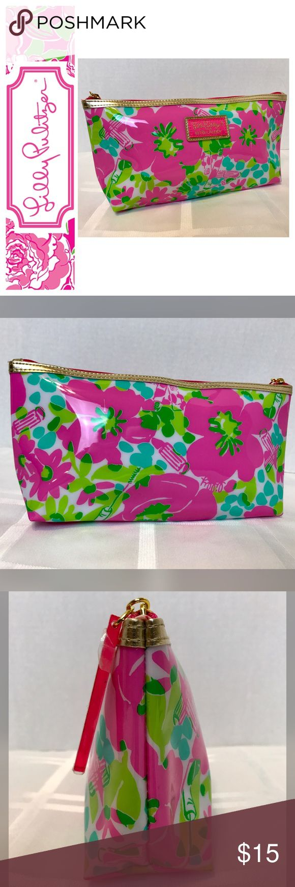 """NWOT Lilly Pulitzer Cosmetic Bag Lilly Pulitzer for Estēe Lauderdale Cosmetic Bag, PVC Material with Gold Trim Making it Easy to Wipe Clean, Approx. Size is 10 1/2""""x 4 1/2""""x 2 1/4"""", NWOT Lilly Pulitzer Bags Cosmetic Bags & Cases"""
