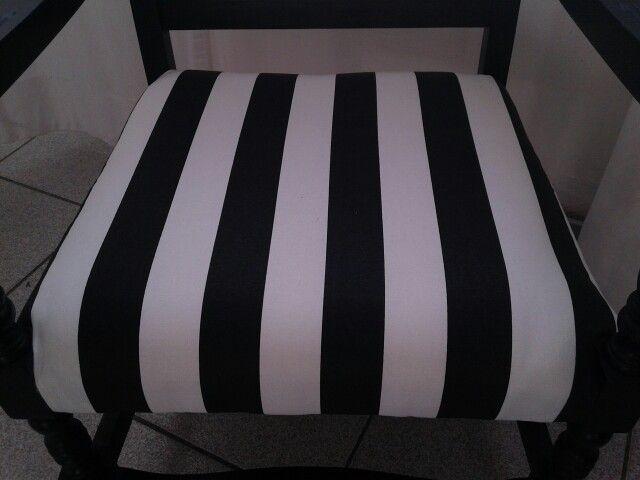 Rivestimento seduta con stoffa cotone spesso rigato bianco e nero