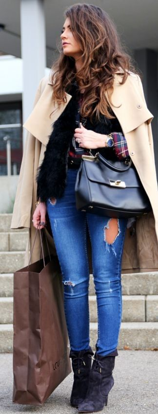 booties: Aquazzura | coat: Kiomi | blouse: Even&Odd | jeans: Oasis | bag: Michael Kors || 1 pair of booties - 3 different outfits || FashionHippieLoves