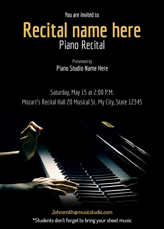 Children S Calendar Ideas : Piano recital maestro free invitation templates
