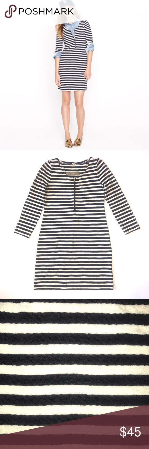 """NWT J. Crew Zip-front T-shirt Dress """"T-shirt dress with a sleek, body-skimming shape that's cut to flatter. Done in nautical stripes in comfy cotton. We gave it a sporty exposed front zip for a modern edge."""" NWT. Size XS.   •lowball offers will be declined •no trades •ask all questions before buying •unfair ratings from buyers are reported & buyer will be blocked - I don't misrepresent my products; what you see is exactly what you get & my prices are way more than fair. Please be kind as I…"""