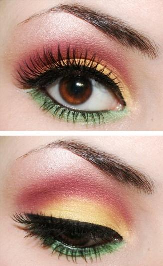 red. yellow. green/Packer Wedding Makeup
