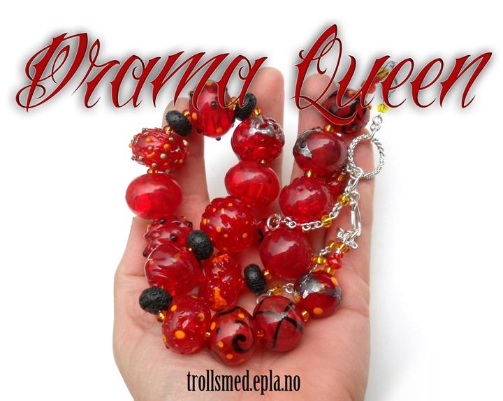 Hollow lampwork striking red beads