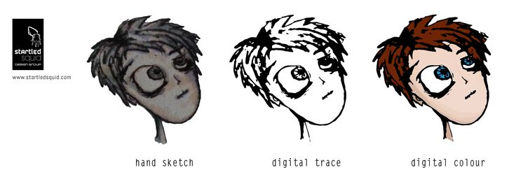 Design Evolution: Watch this cartoon boy evolve from hand sketch to digital trace to digitally coloured finished product.
