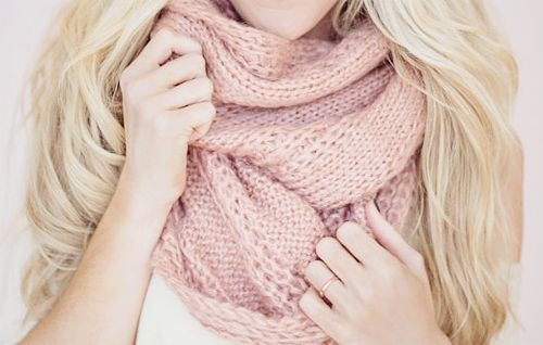 soft pink scarf and blonde