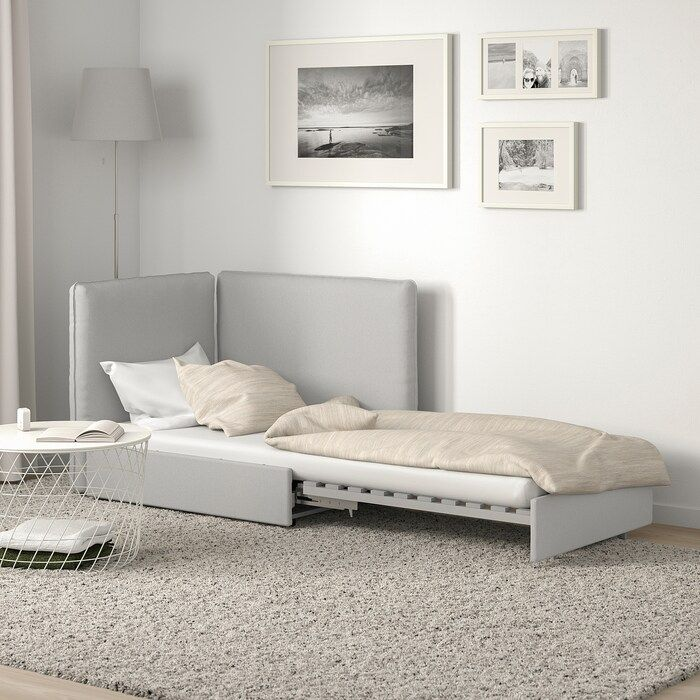 Ikea Vallentuna Orrsta Light Gray Sleeper Module With Backrests In 2020 Flexible Furniture Armchair Bed Bed Slats