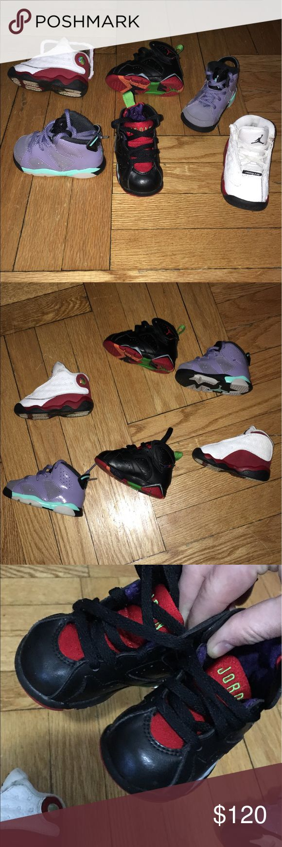 ⏳kids air Jordan Any2 Any 2 as u see all in great condition.. 4c.. any 2 ur choice the black are almost new worn not even Twice the white and red was purchased when they first released they are the old school original great quality back in the day Jordan's for those who know and the purple are suede and worn few times but still in great condition.. ea pair was over 60$ Air Jordan Shoes Sneakers