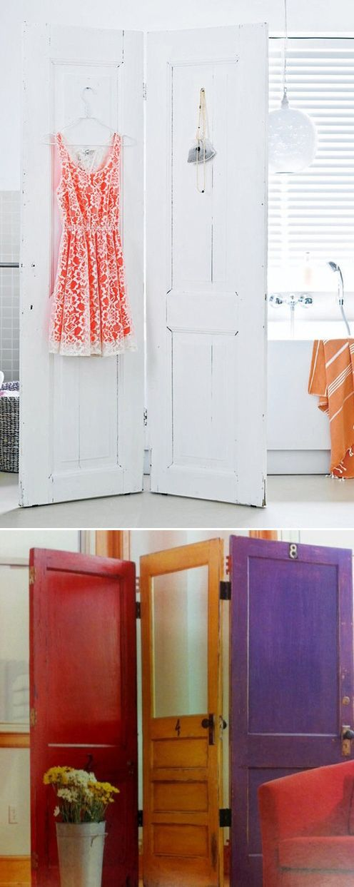 Attach 2 or 3 doors with hinges to make a screen-like divider.