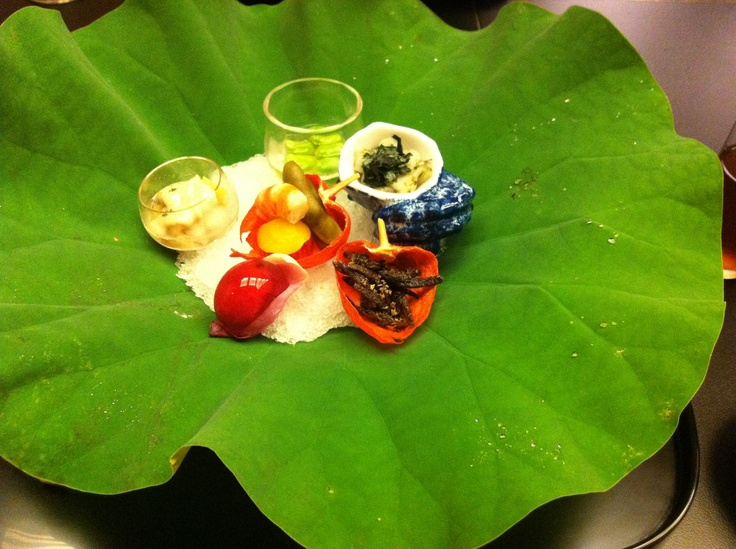 elegant meal on a leaf of lotus