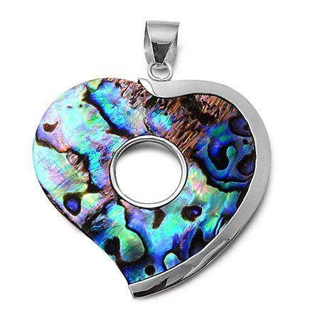 Rhodium Plated Brass and Shell Heart Pendant - Height: 42mm Pendants - Sterling Silver. $13.25