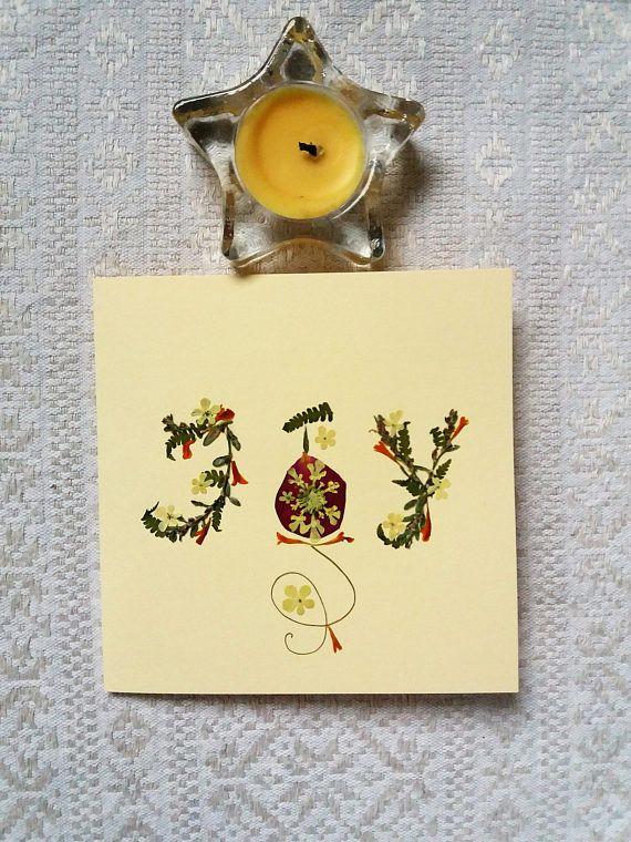 JOY Christmas card. Pressed flower Christmas Greetings card.