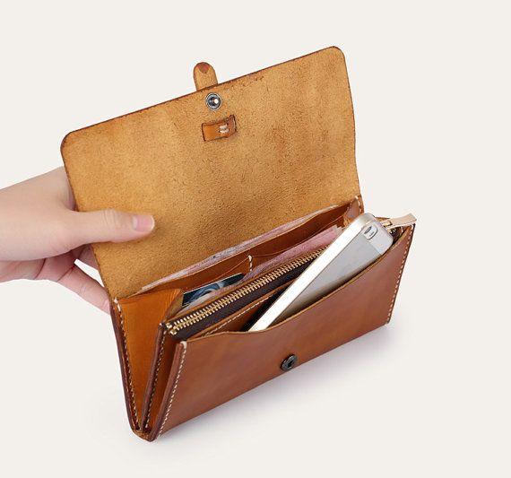 Una billetera de cuero hecho a mano marrón bolso por TownTiger Más