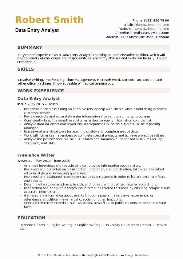 data analyst resume entry level inspirational data entry