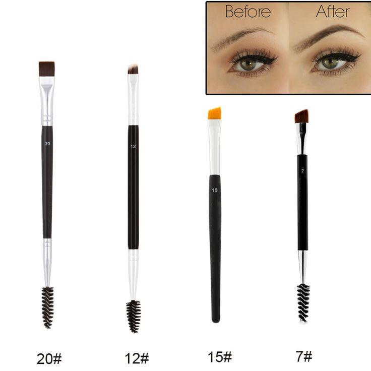 Professionnel Double Face Duo Brosse À Sourcils 12 #15 #7 #20 # sourcils Enhancer Angle Brosse À Sourcils + Peigne Beauté Maquillage Outil 1 PCS