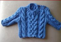 Babies 12ply cable sweater knitting pattern.