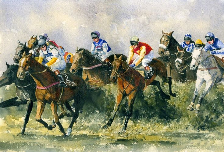 Bobbyjo   ukwatercolours-Bobbyjo winning The Grand National in 1999 with Paul Carberry up.
