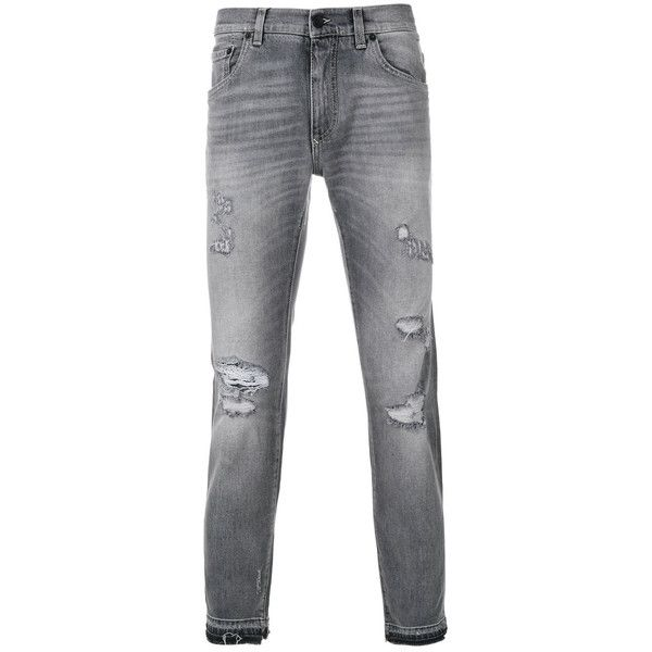 Dolce & Gabbana distressed skinny jeans ($775) ❤ liked on Polyvore featuring men's fashion, men's clothing, men's jeans, grey, mens destroyed jeans, mens grey jeans, mens zipper jeans, mens button fly jeans and mens distressed jeans