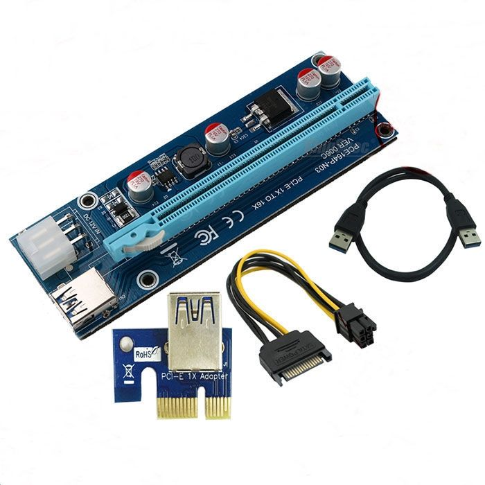 79.90$  Watch here - http://alixlg.shopchina.info/go.php?t=1476109607 - 10pcs/lot 2017 New 006C PCIe PCI-e PCI Express Riser 1x to 16x 6pin to SATA Power USB 3.0 Cable 60cm for BTC Miner Machine RIG  #buyonlinewebsite
