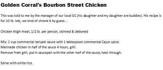 Golden Corral Copycat Bourbon Street Chicken