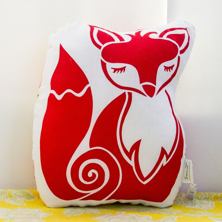 Original Screen Printed FOX Cushion / Softie In Red Gallery