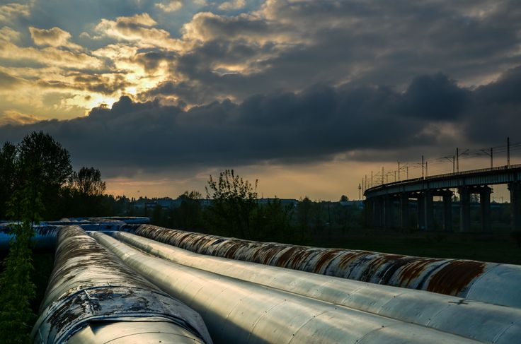 dramatic, evening, industry, pipes, sunset, technology