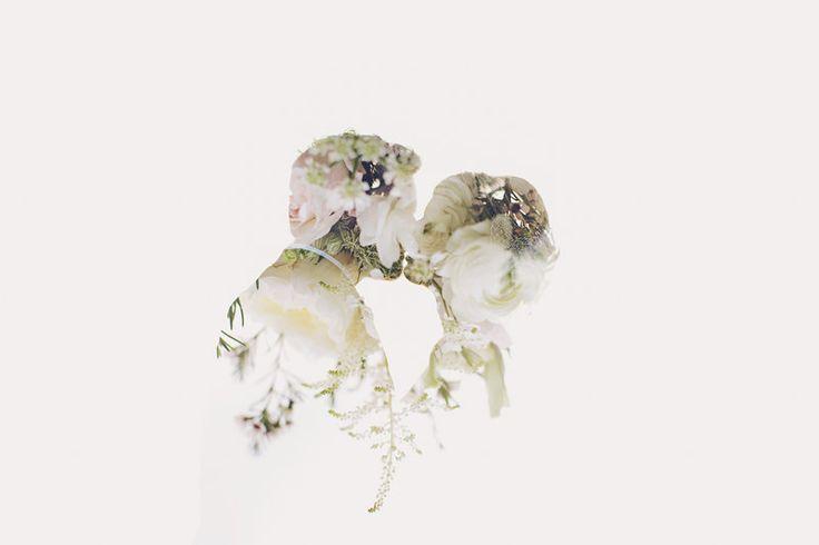 Matt + Laura - Brooke Courtney Photography / white + neutral wedding inspiration / bride + groom / double exposure / flowers / floral / portrait /