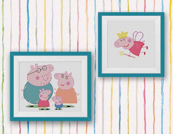 BOGO FREE Set Peppa Pig Family Cross Stitch Pattern Family TV