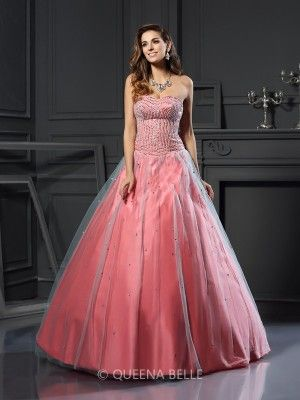 Ball Gown Sleeveless Satin Sweetheart Sleeveless Beading Floor-Length Dresses - Prom Dresses - Occasion Dresses - QueenaBelle 2017