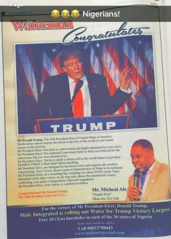Welcome to Stanleyokolos's blog: Nigerian uses full page newspaper advert to congra...